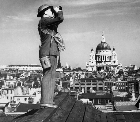 A spotter in the Observer Corps on a rooftop in London