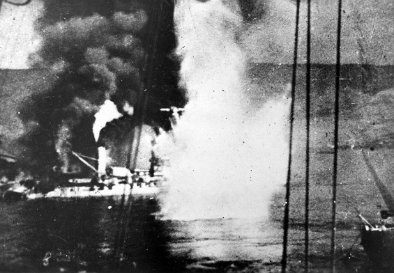 French battleship Bretagne burns at Mers-el-Kebir