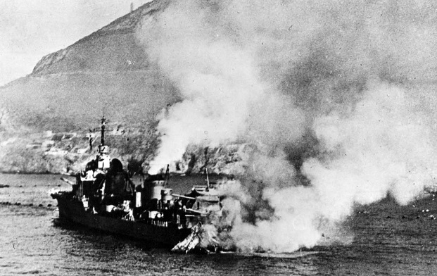 French destroyer Mogador sustaining heavy damage at Mers-el-Kebir