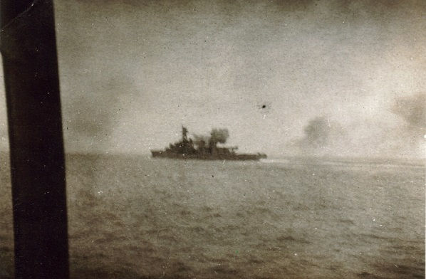 Vichy French destroyer in action during Operation Menace